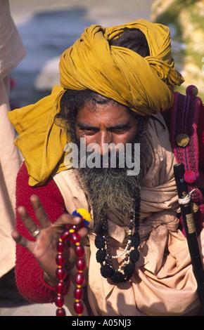 Sadhu, Indian Holy man. Khumb Mela festival 2001-Allahabad, Uttar Pradesh, India. - Stock Photo
