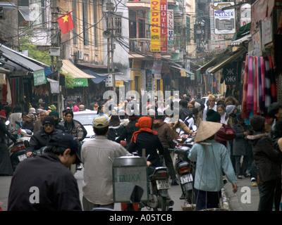 Vietnam Hanoi Centre Old Quarter Pho Dinh Liet traffic congested street - Stock Photo