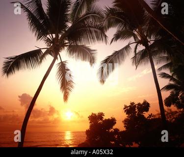 USA - HAWAII: Sunset along the Kona Coast on the Big Island - Stock Photo