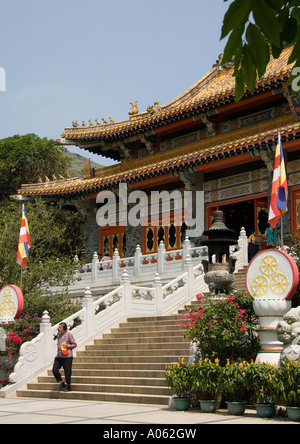 The main courtyard of the Po Lin Monastery on the island of Lantau in Hong Kong - Stock Photo