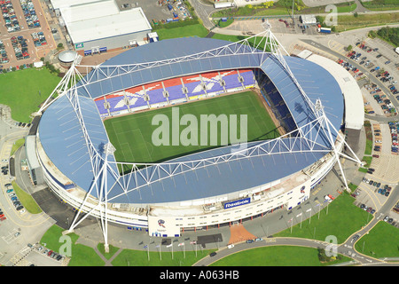 Aerial view of Bolton Wanderers Football Club, also known as the Reebok Stadium and is home to the Trotters - Stock Photo