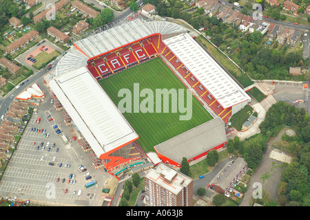 Aerial view of Charlton Athletic Football Club in London, also known as the Valley and is home to the Addicks or - Stock Photo
