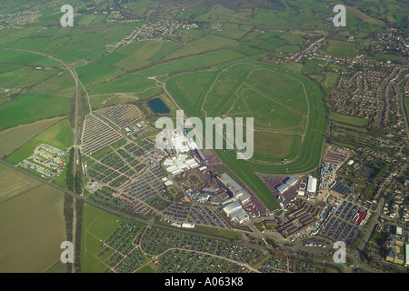 Aerial view of Cheltenham Gold Cup Horse Race at Cheltenham Racecourse during the Cheltenham Festival, won by Kicking King