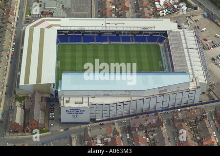 Aerial view of Everton Football Club in Liverpool also known as Goodison Park, home to the Toffees or Toffeemen - Stock Photo