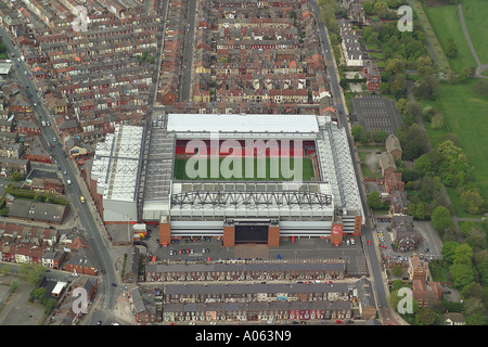 Aerial view of Liverpool Football Club who play at Anfield Stadium in Liverpool and are known as the Reds - Stock Photo