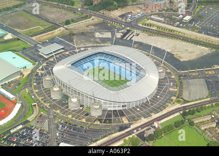 Aerial view of Manchester City Football Club who play at the City of Manchester Stadium. The team is known as City - Stock Photo