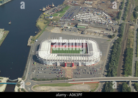 Aerial view of Middlesbrough Football Club also known as the Riverside Stadium, which is home to the Boro - Stock Photo