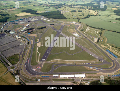 Aerial view of Silverstone Grand Prix Circuit, home of the British Formula 1 Grand Prix and host of other motor - Stock Photo