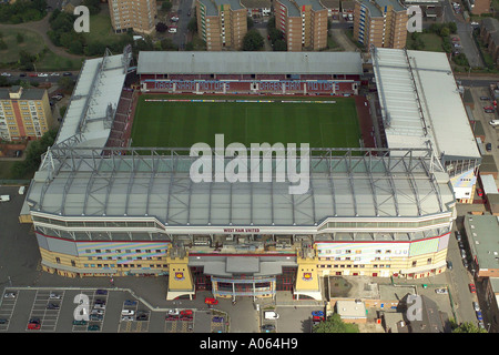 Aerial view of West Ham United Football Club in London, also known as Upton Park or the Boleyn Ground, home of the - Stock Photo