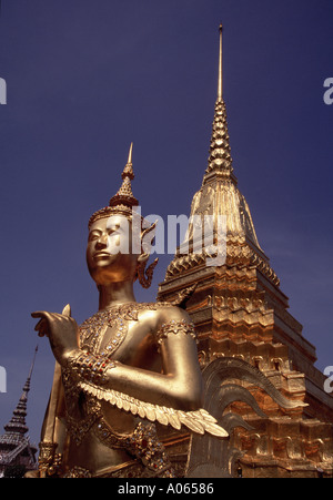 Ginaree figure half human half deer Wat Phra Kaew Grand Palace Bangkok Thailand - Stock Photo