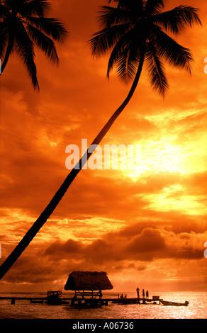 Pigeon Point Tobago Caribbean Sunset - Stock Photo