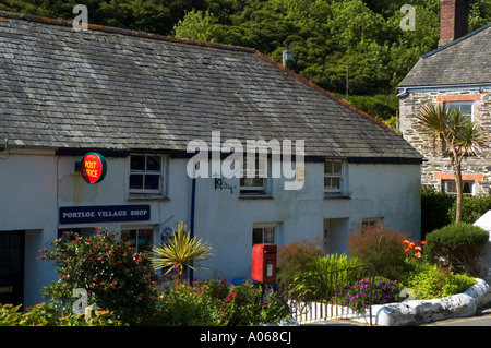 the village shop and post office at portloe in cornwall,england - Stock Photo