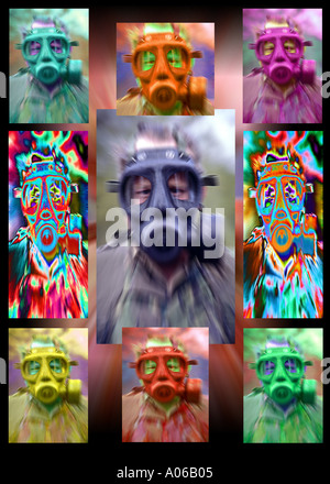 Soldier in NBC gasmask (nuclear, biological, chemical) - Stock Photo