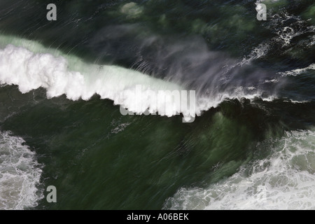 aerial view of powerful crashing wave in South Africa - Stock Photo
