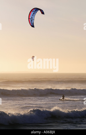 Kite surfing in Table Bay Cape Town South Africa - Stock Photo