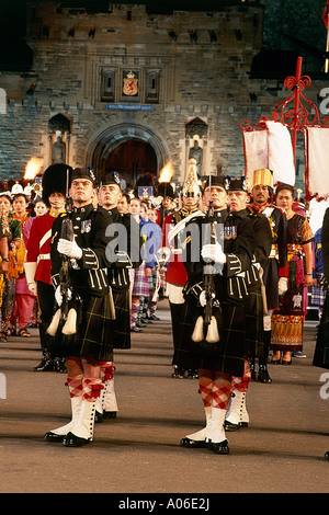 Scottish guards marching at the finale of the Military Tattoo at Edinburgh Castle - Stock Photo