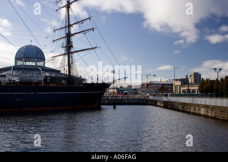 RRS Discovery ship docked on the waterfront at Discovery Point Dundee Scotland UK - Stock Photo