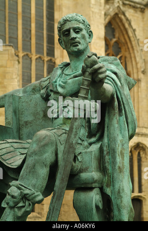 Bronze statue of the Roman Emperor Constantine the Great outside York Minster, Minster Yard, York, England, UK - Stock Photo