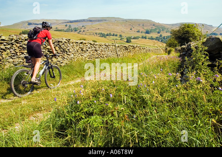 Female mountain biker on a track between Clapham and Austwick in the Yorkshire Dales - Stock Photo