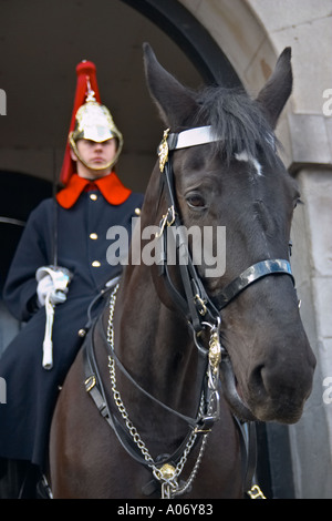 Queens Royal Horseguards Lifeguards Life Guards cavalry in Whitehall Place London - Stock Photo
