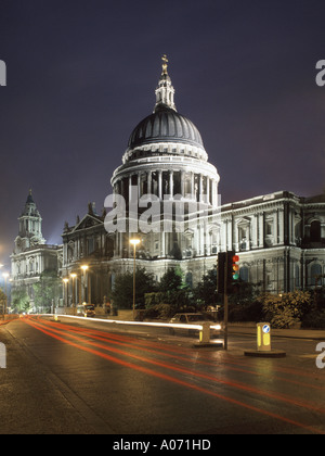 City of London and St Pauls cathedral evening view - Stock Photo