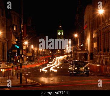 Night scene looking down Whitehall, Westminster, London. - Stock Photo