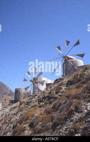 Windmills of Olympos Olymbos Greek Dodeanese Island Karpathos Greece - Stock Photo