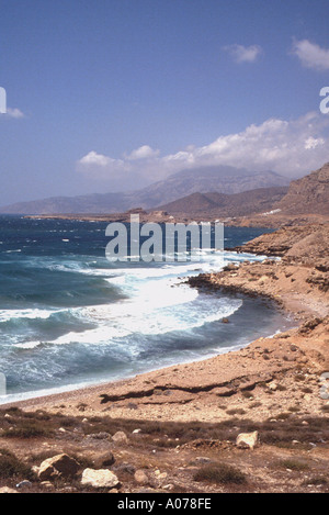 Karpathos Greek Dodecanese Island  Shoreline heavy Sea Scenery Greece - Stock Photo