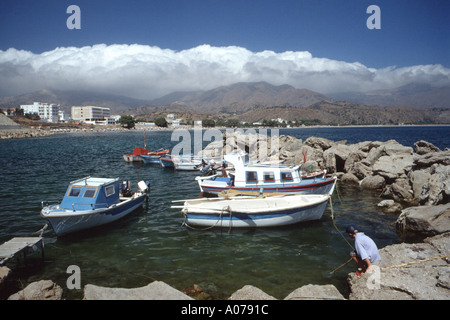 Karpathos Pigadia Town Harbour Greek Dodecanese Island Greece - Stock Photo