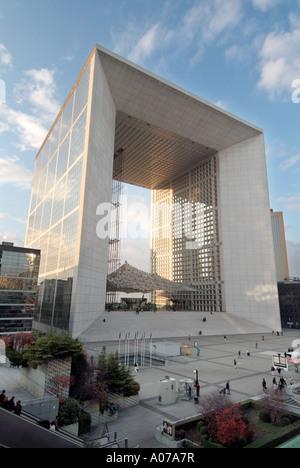 Paris La Defense concourse and business area modern architecture The Grand  Arche - Stock Photo