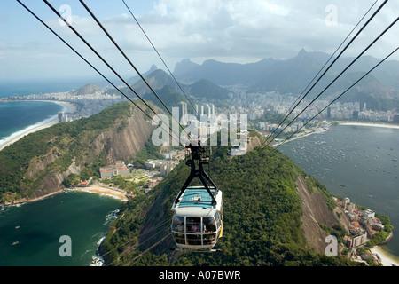 Cablecar bondinho from Mount Urca to Sugar Loaf Rio de Janeiro Brazil - Stock Photo