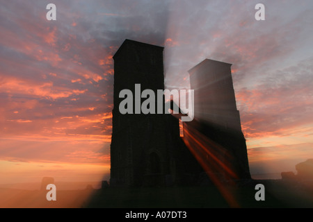 The twin towers of St Mary's Church at Reculver, Kent, England. - Stock Photo
