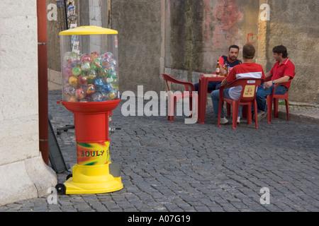 Lisbon Portugal Outdoor bar in La Alfama - Stock Photo