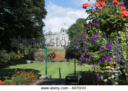 Aberdeen City view to HM Theatre by colourful floral hanging baskets ...