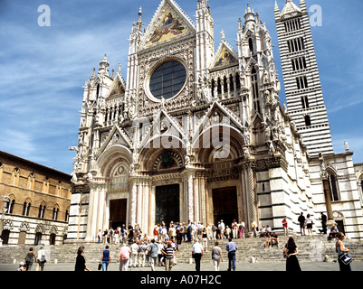 SIENA TUSCANY ITALY EUROPE May White and black Duomo Cathedral dating back to the 12th to 14th century - Stock Photo