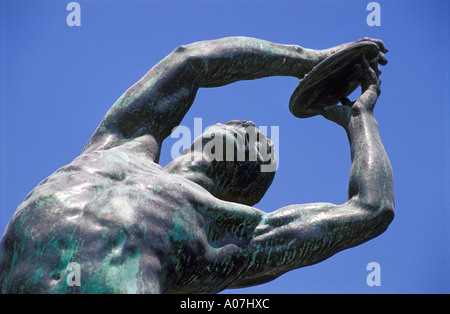 Statue of Discobolus in front of the Athens Stadium, Greece - Stock Photo