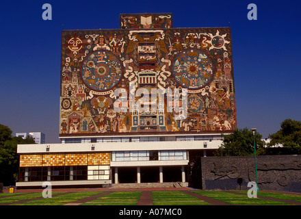 Murals, Juan O'Gorman, Central Library, National Autonomous University of Mexico, UNAM, Mexico City, Federal District, - Stock Photo