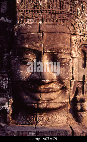The enigmatic faces of Bayon Temple Angkor Thom Cambodia 12 - Stock Photo