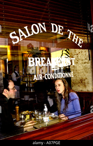 PARIS France, Romantic Couple Sharing Meals in French Bistro Restaurant 'Camille', in The Marais, Man and Woman - Stock Photo