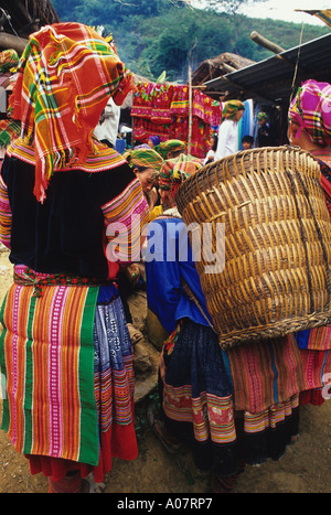 Flower Hmong With Basket Coc Ly Vietnam - Stock Photo