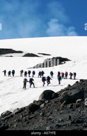 climbing villarica volcano near pucon chile south america - Stock Photo