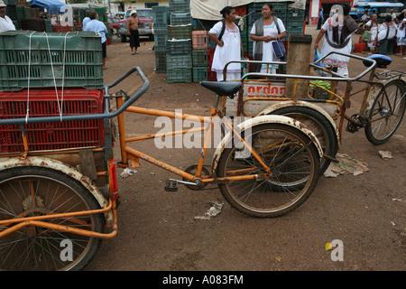 Rickshaw at Oxkutzcab market, Yucatan Peninsula, Mexico - Stock Photo