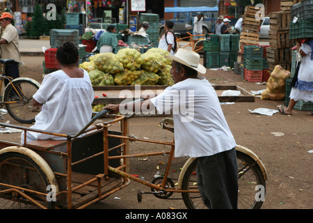 Rickshaw, Oxkutzcab market, Yucatan Peninsula, Mexico - Stock Photo