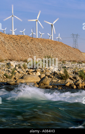 Windmill farm in Palm Springs California Palm Springs California USA UNITED STATES - Stock Photo