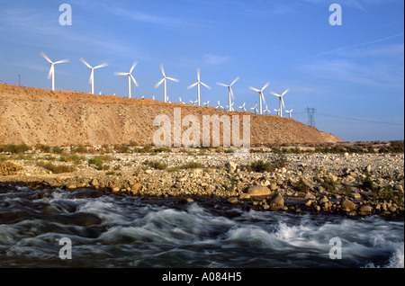 Windmill farm in Palm Springs, California USA - Stock Photo