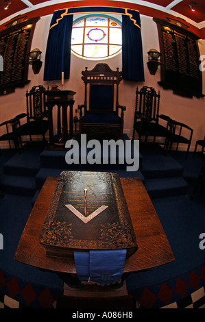 Close up of the Volume of the Sacred Law book in a Freemasons Lodge - Stock Photo