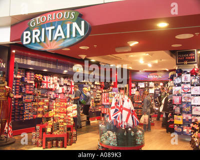 Glorious Britain gift shop Stansted airport departure lounge England - Stock Photo
