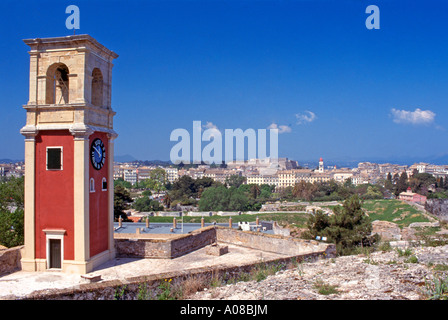 The Venetian clocktower in the grounds of Corfu s Old Fortress or Fortezza Vecchia built by the Venetians in 1550 - Stock Photo