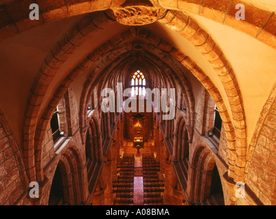 dh St Magnus Cathedral KIRKWALL ORKNEY West Nave from roof arch interior scotland cathedral orkneys empty inside - Stock Photo