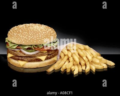 Hamburger classic American with French fries chips - Stock Photo